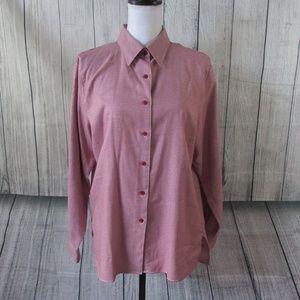 Womens Foxcroft Long Sleeve Button Down sz 12